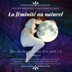 """Atelier """"La féminité au naturel"""" mercredi 4 décembre à 18h30"""