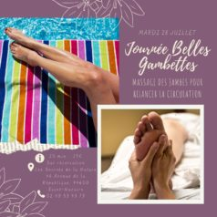 "Journée massage ""belles gambettes"" mardi 28 juillet"